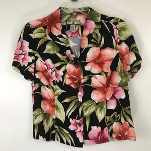 Caribbean Joe Red and Pink Tropical Floral Top PM